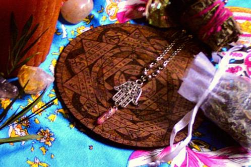 Rustic Bodhi Hamsa Sunset Aura Talisman Necklace for Meditation & Prayer