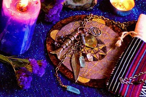 Enchanted PISCES Aqua & Clear Quartz Necklace - ZodiacCollection