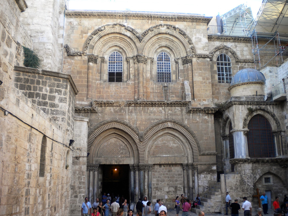 Today's entrance to the Holy Sepulchre (Albert Tour Guide Israel)