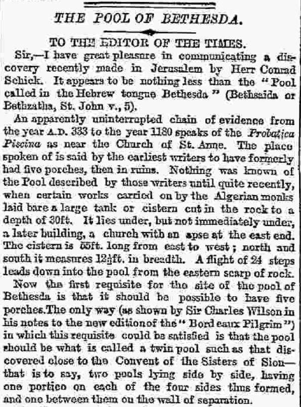 Annonce de la découverte dans le Times de Londres