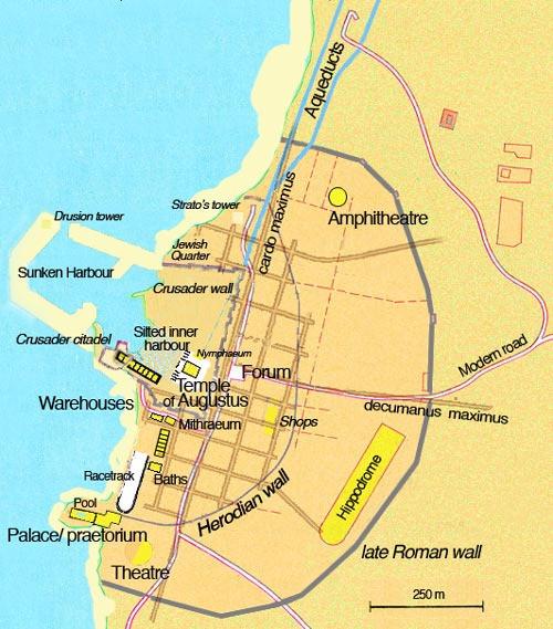 Map of Caesarea ruins (Albert Tour Guide Israel)