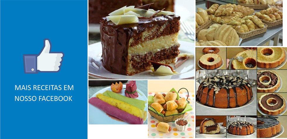 Fotos de bolos, salgados e pães com ícone de curtida do Facebook