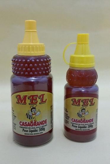 Mel puro de abelhas Casagrande em embalagem plástica de 500g e 200g com dosador