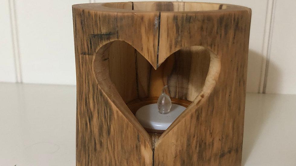 Rustic Heart Tea Light Holder