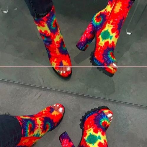 Tye Dye Red Suede Heels