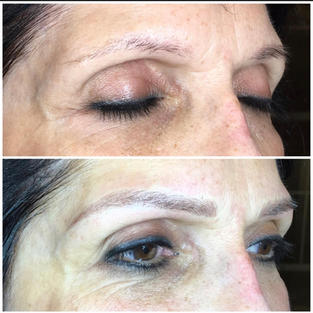 Microblading with light shading, side view.