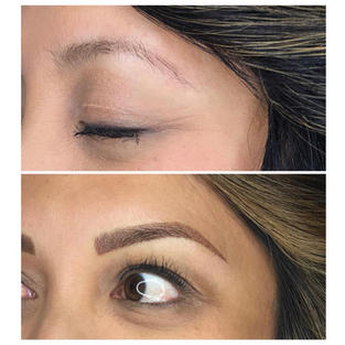 Reshaping the brows with Ombre shading.