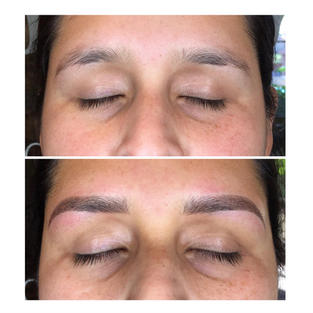 Combination Brows (Microblading w/ Ombre Shading) with shape correction.