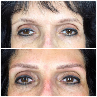 Microblading w/ light shading on mature skin, front view.