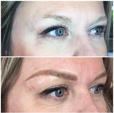 Microblading with dramatic shading to fill in lost tail due to over-tweezing.