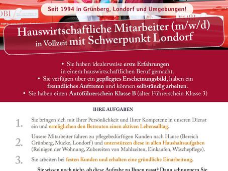 Mitarbeiter (m/w/d) für die Hauswirtschaft, Schwerpunkt Rabenau-Londorf gesucht