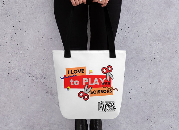 All-Over Print Tote | I Love To Play With Scissors