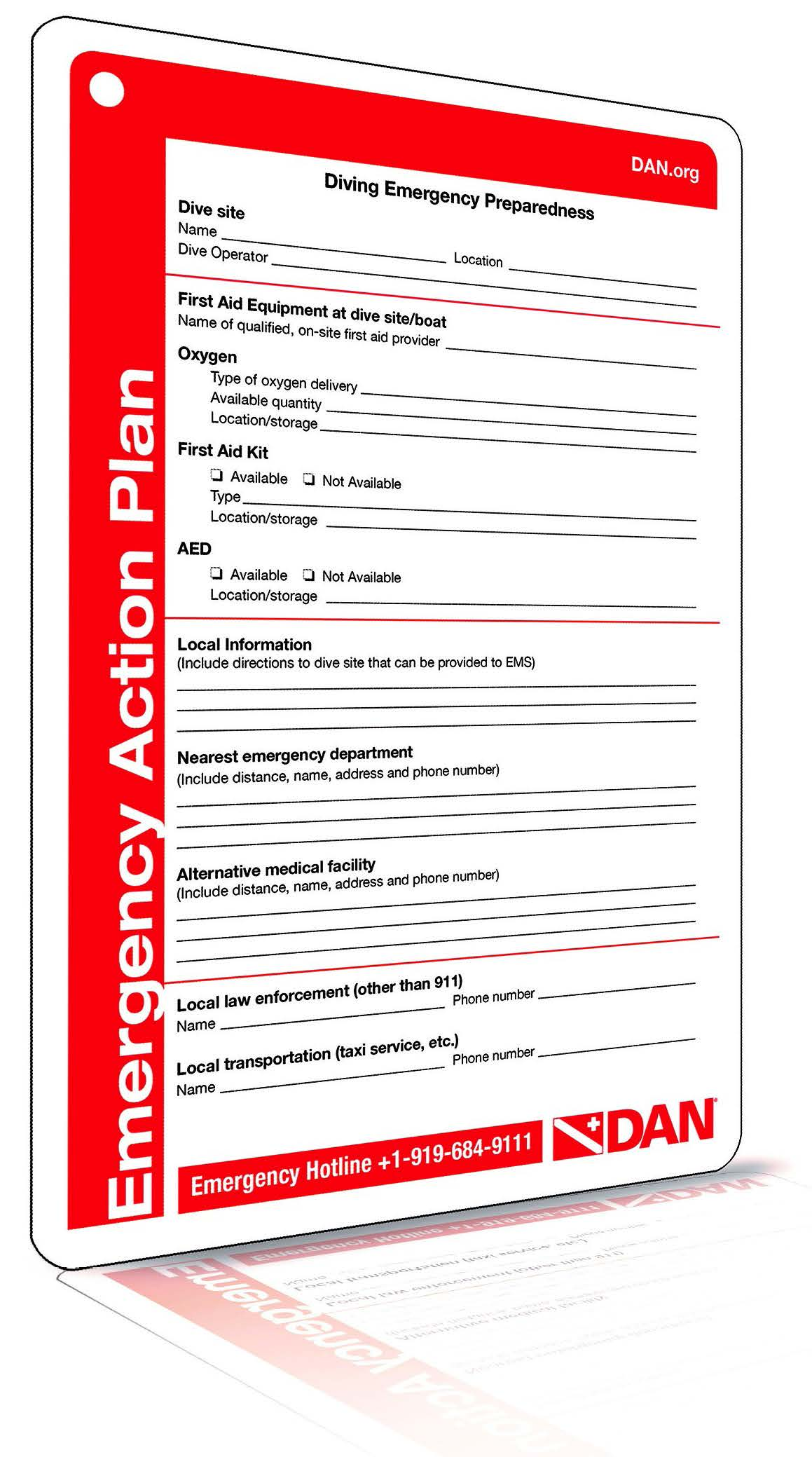 Emergency assistance plans eaps scuba h2o adventure for Padi emergency action plan template