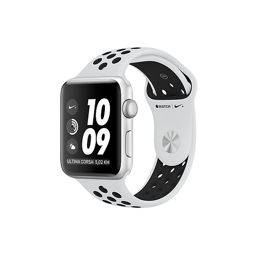 Apple Watch Nike Cassa alluminio argento con cinturino Sport bianco