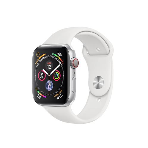 Apple Watch Series 5 Cassa alluminio argento cinturino Sport bianco