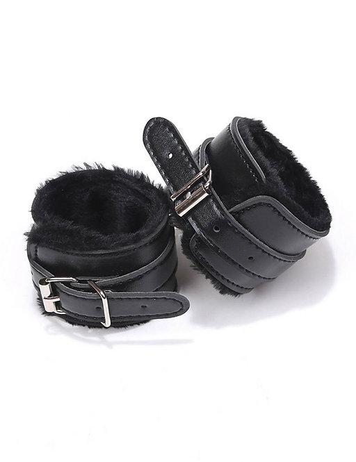 Black faux leather handcuffs