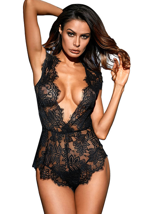 Sexy black lace plus size lingerie bodysuit