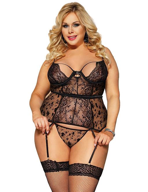 Sexy black plus size lingerie bustier