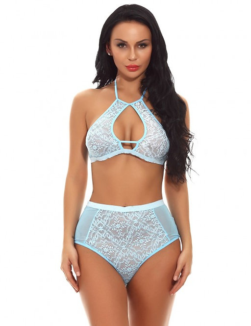Sexy blue lace plus size lingerie set