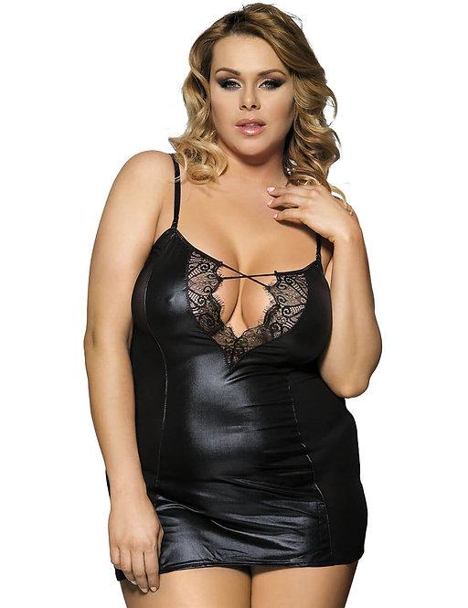 Sexy black faux leather plus size lingerie chemise
