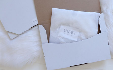 Plus size lingerie wrapped in white tisse paper and cardbard