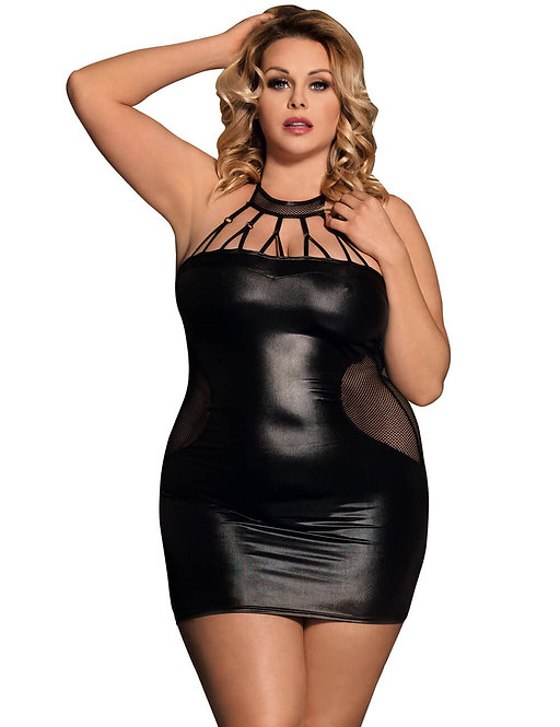 Sexy faux leather strappy plus size lingerie chemise