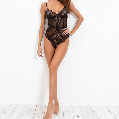 Sexy black lace and sheer bodysuit lingerie