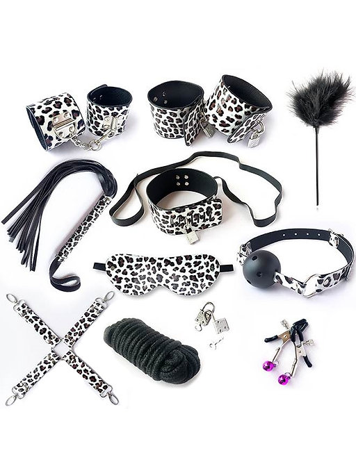 Leopard print bondage sex toy set