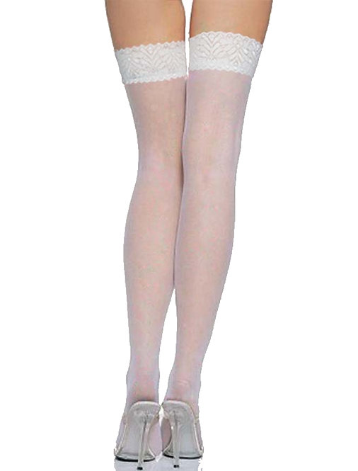 Sexy white sheer and lace stockings plus size lingerie