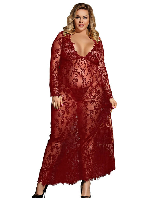 Sexy red lace plus size lingerie gown
