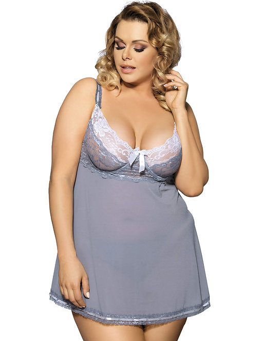 Sexy grey sheer plus size lingerie chemise