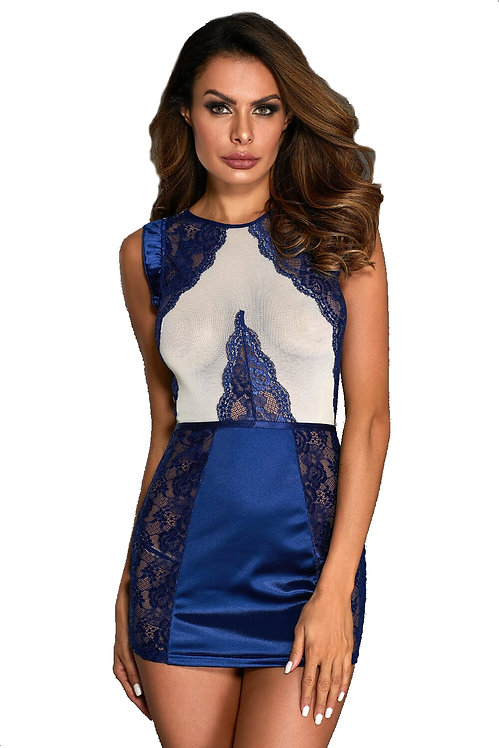Sexy blue sheer and lace lingerie chemise