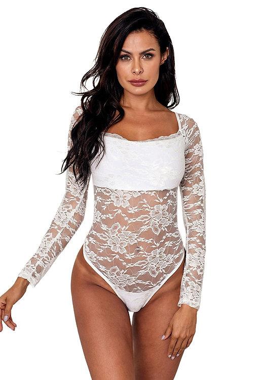 Sexy white lace plus size lingerie bodysuit