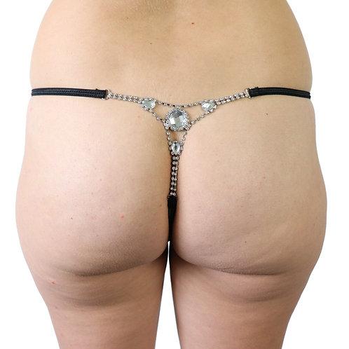 Black gemstone plus size lingerie underwear