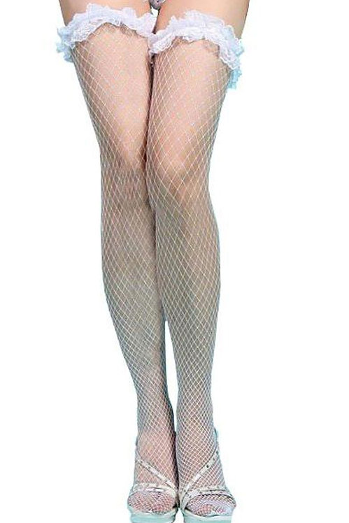 White fishnet thigh high plus size lingerie stockings