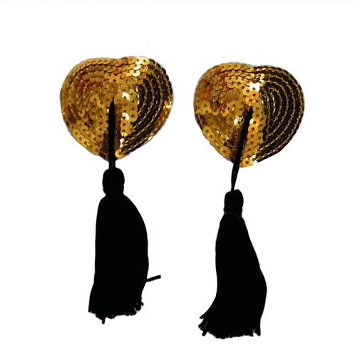 Sexy gold heart nipple covers in Australian plus size lingerie boutique