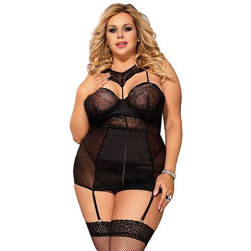 Sexy black satin chemise plus size lingerie