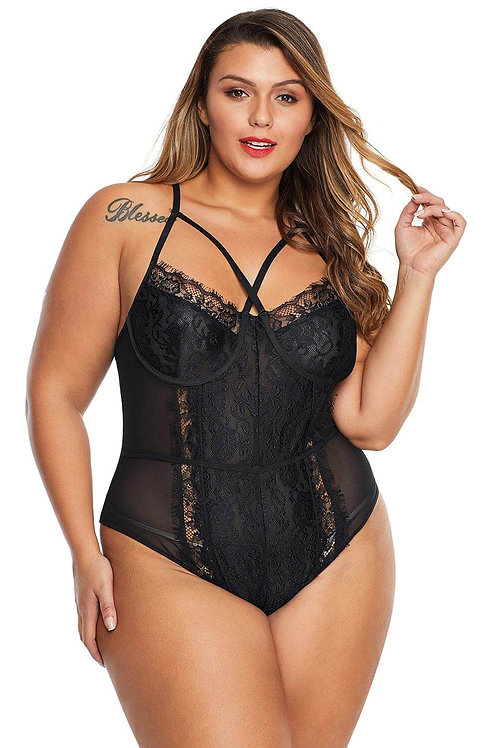 Sexy black plus size lingerie bodysuit