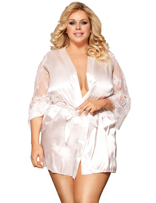 Sexy white lace and satin plus size gown