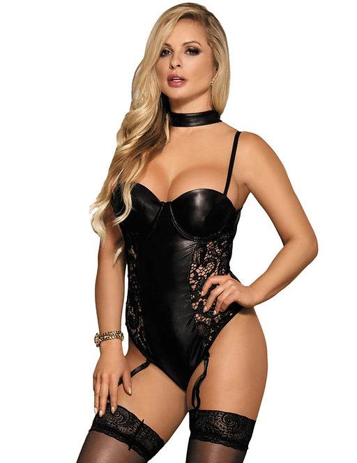 Sexy black faux leather and lace plus size lingerie bodysuit