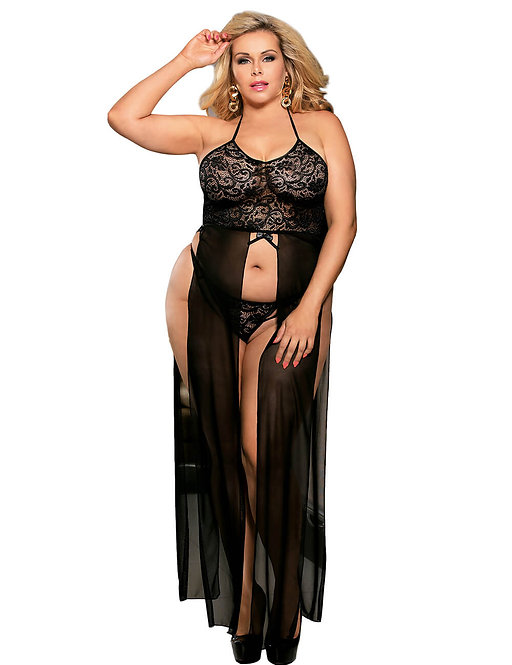 Sexy black lace and sheer lingerie gown