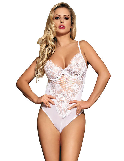Sexy white lace plus size lingerie bodysuit