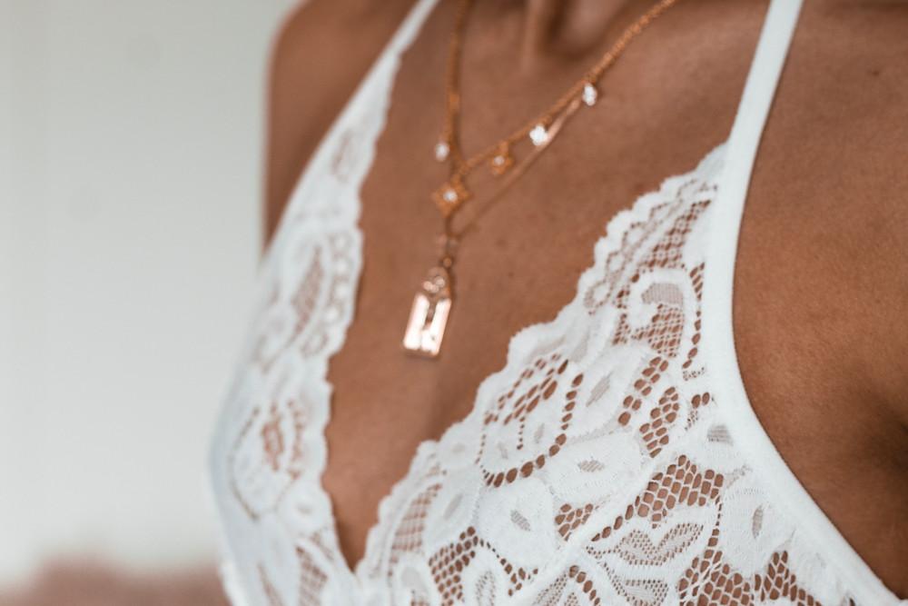 White lace plus size lingerie bralette