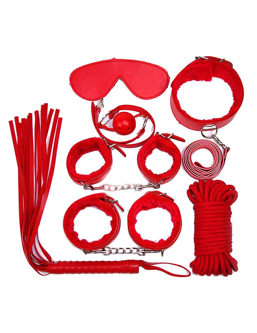 Red bondage sex toy set