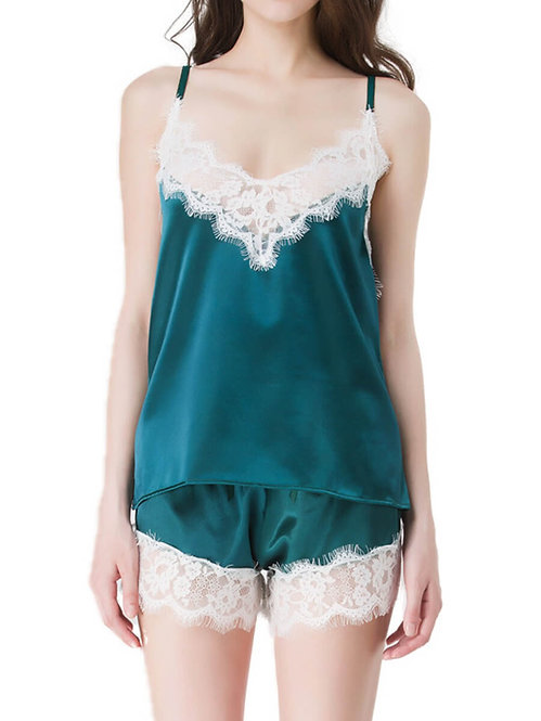 Sexy green lace and satin sleepwear lingerie set