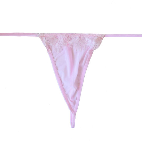 Sexy pink sheer and lace plus size lingerie g-string