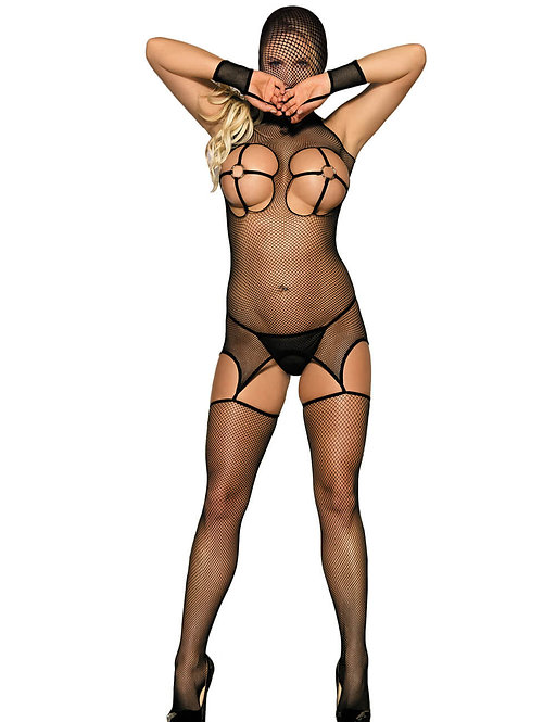 Sexy black fishnet plus size lingerie bodystocking