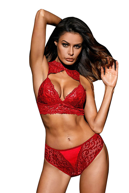 Sexy red lace bralette bra and underwear set