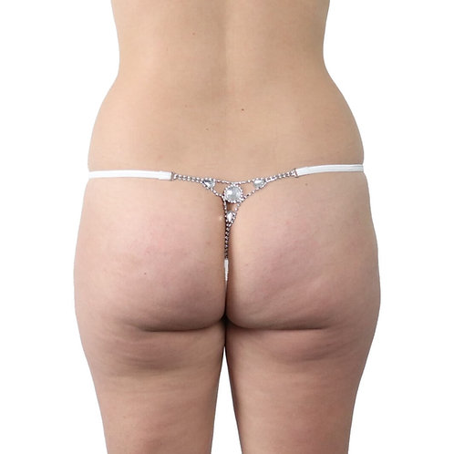 Sexy white gemstone plus size lingerie g-string