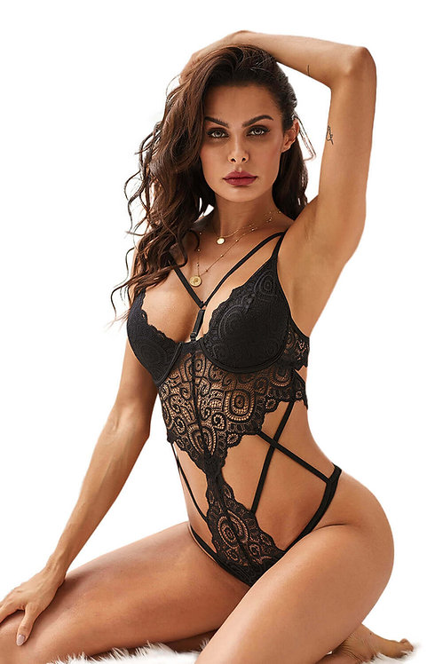 Sexy black strappy plus size lingerie bodysuit